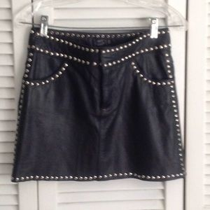 Lamb leather Mini Skirt